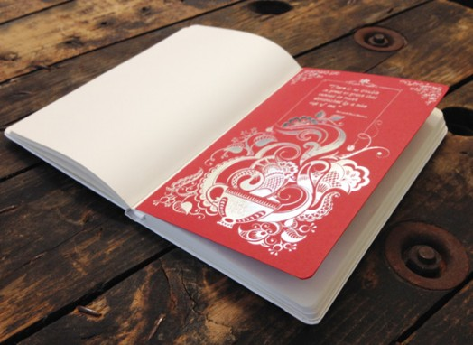 hot foiled red page