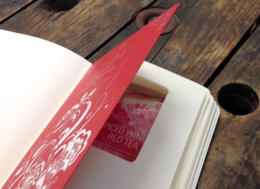 red foiled page hides cutout