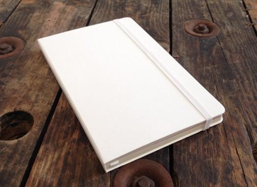 white moleskine notebook