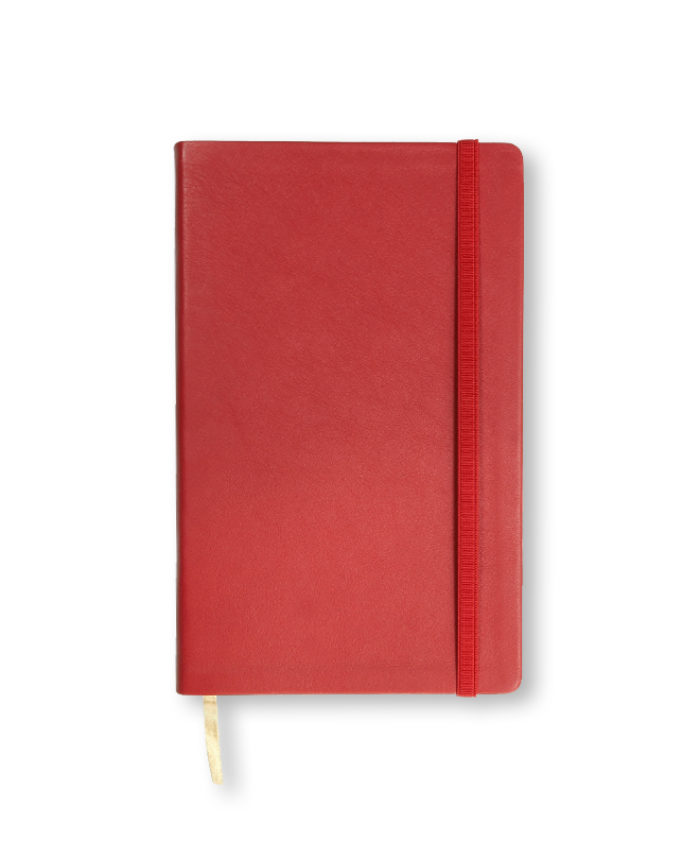 A5 Bright Red Castelli Vitello leather notebook