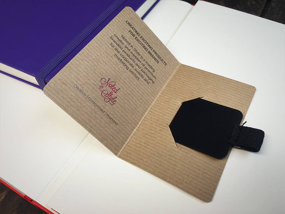 Noted in Style pen loop holder information card