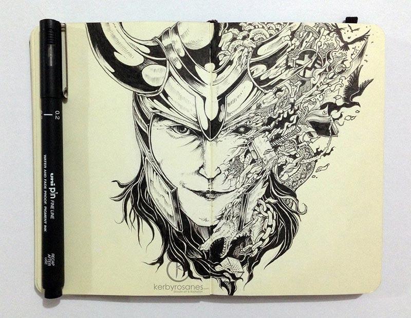 moleskine_doodles__mischievous_by_kerbyrosanes