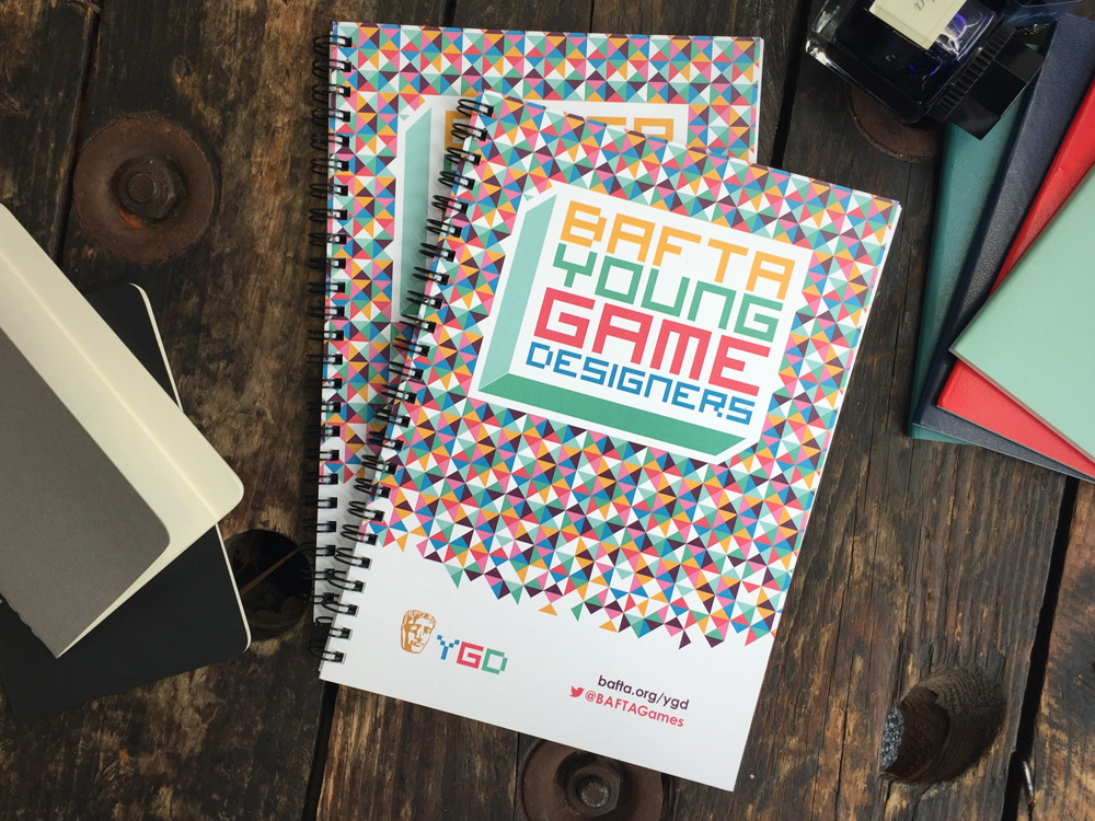 Bespoke notebook print for Bafta Young Game Designers
