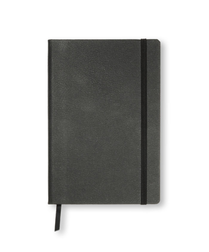 A5 Charcoal recycled leather notebook