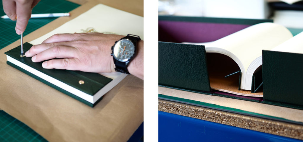 Screws being fastened on hinges of the Headley Court bespoke leather journal.