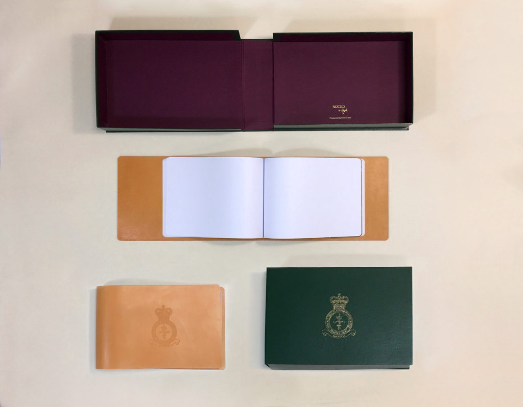 Headily Court's bespoke leather journal and presentation box after construction