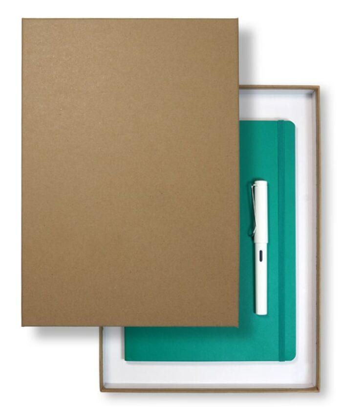 A4 recycled lidded slim gift box - Kraft