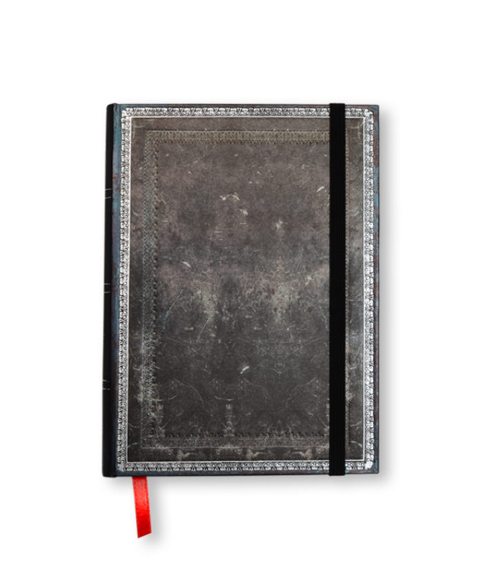 Midi Midnight Steel Classic Old Leather Paperblanks Notebook