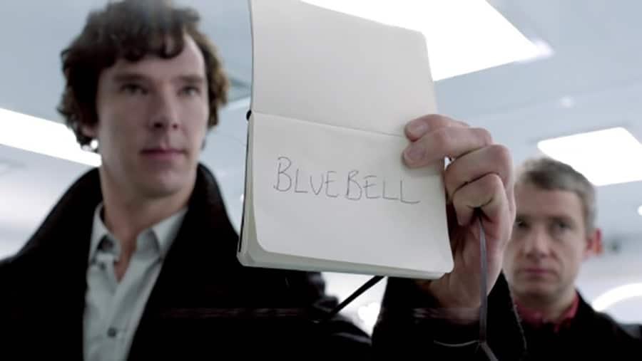 Sherlock Holmes Moleskine softcover Moleskine notebook on-screen sightings