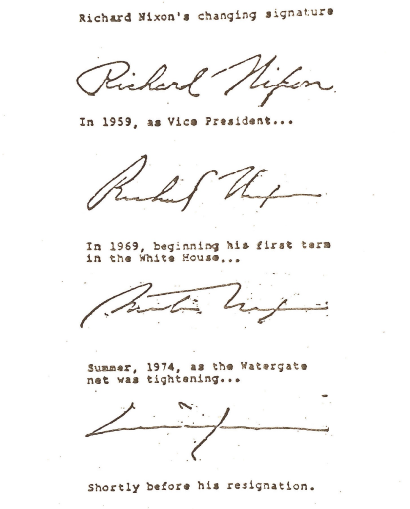 handwriting analysis example showing President Nixon's handwriting