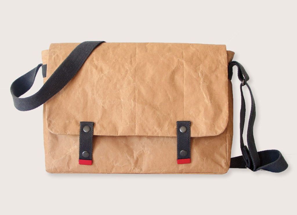 sustainable promotional products reclaimed paper messenger bag in brown