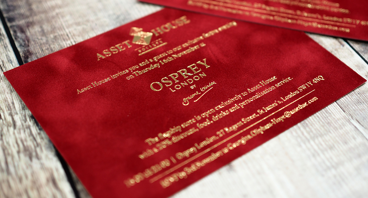 gold foiled flocked invites - a tactile way of marketing your business
