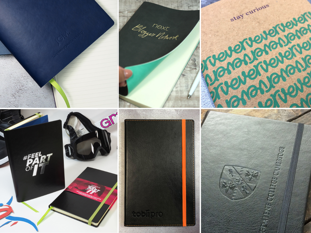 A variety of branding techniques displayed on various vegan notebook covers