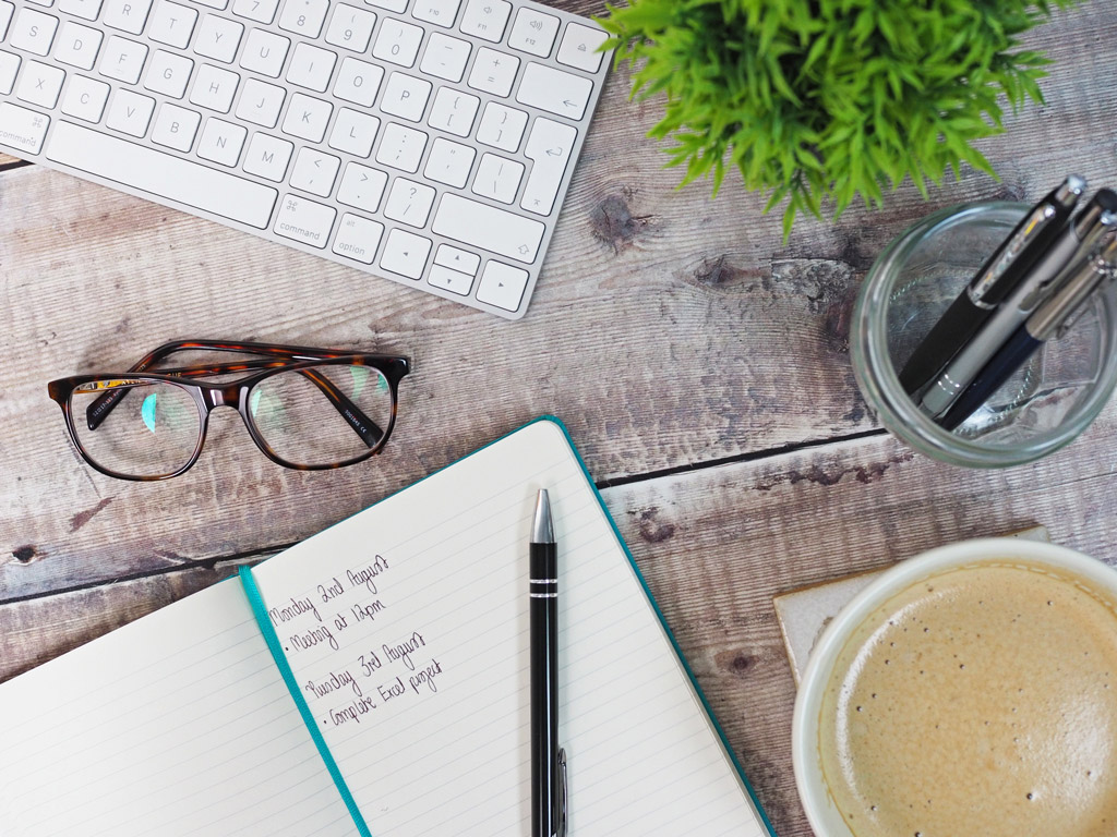 Writing matters notebook on work from home desk